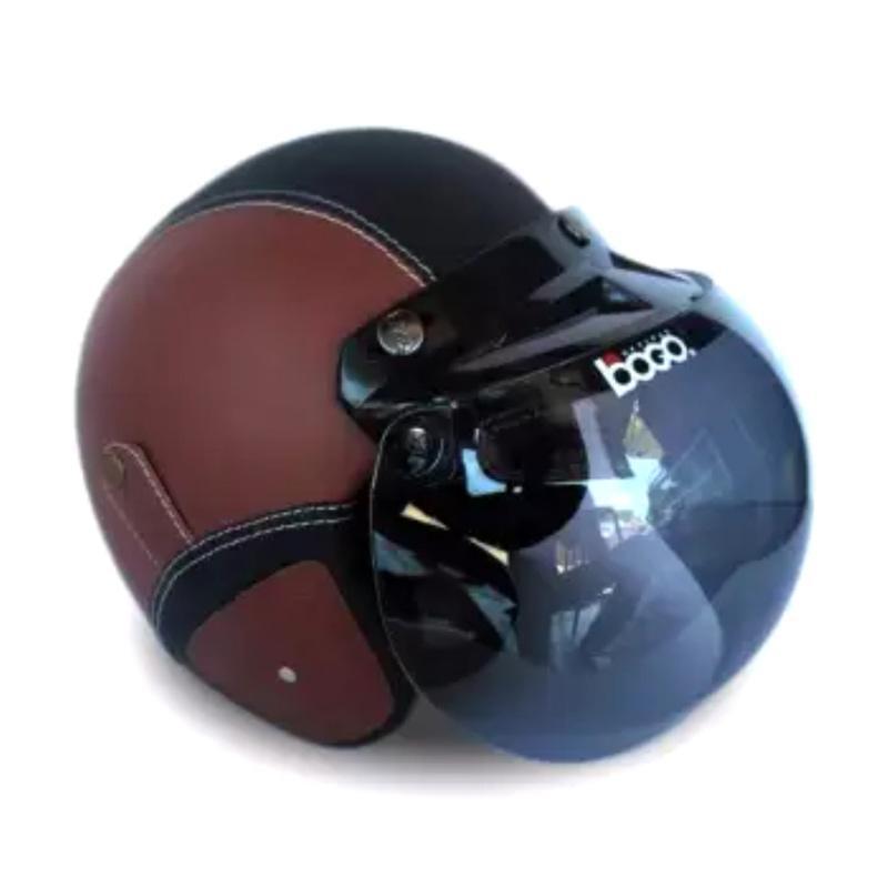 Bogo Hijmuku Full Synthetic Leather Helm Retro with Kaca