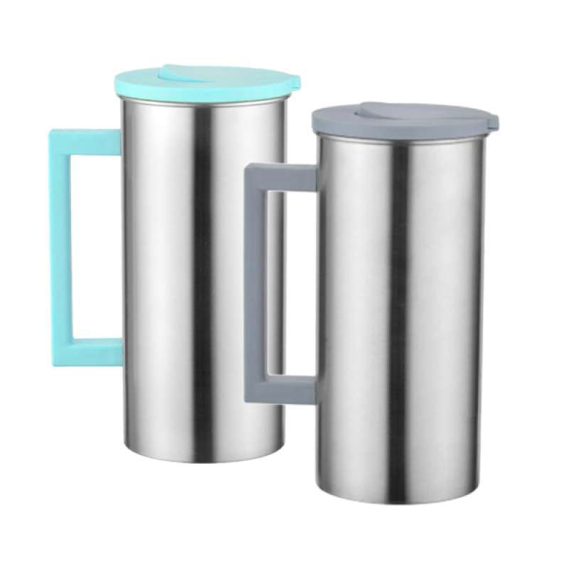 Jual 2 Pcs Stainless 1 8l 61 Ounces 0 5 Gallon Water Pitcher Juice Ice Tea Jug Cafe Serving Great For Kitchen Restaurant Green Gray Online November 2020 Blibli Com