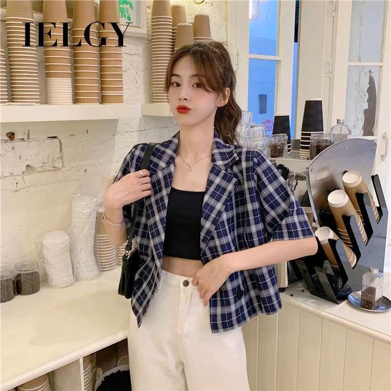IELGY Plaid suit jacket women short sleeved thin Korean loose short suit