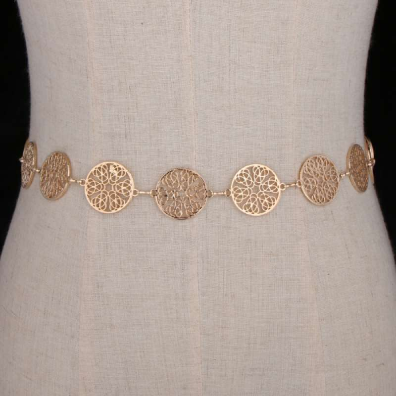 Adjustable Fashion Women Lady Dress Waist Chain Belt Gold Coin Party Jewelry