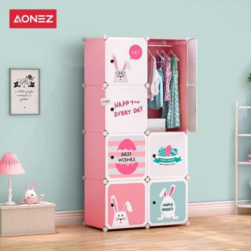 Jual Promo Aonez Lemari Pakaian Lemari Plastik 4 6 8 Slot Lemari Baju Merah Muda 1 Online April 2021 Blibli