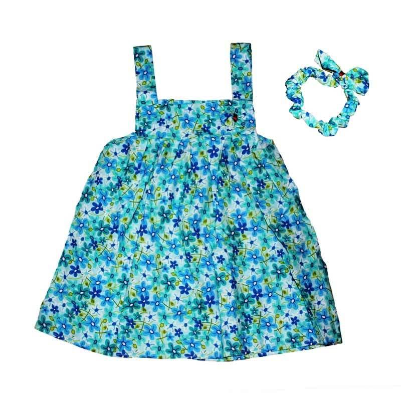 Pesona Sakura Flower Dress Anak - Blue + Free Headband