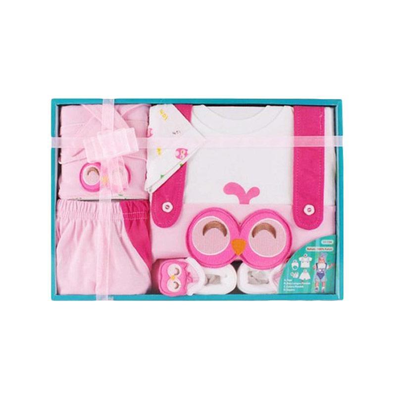 Kiddy Baby Gift Set Motif Owl Setelan Pakaian Bayi - Pink