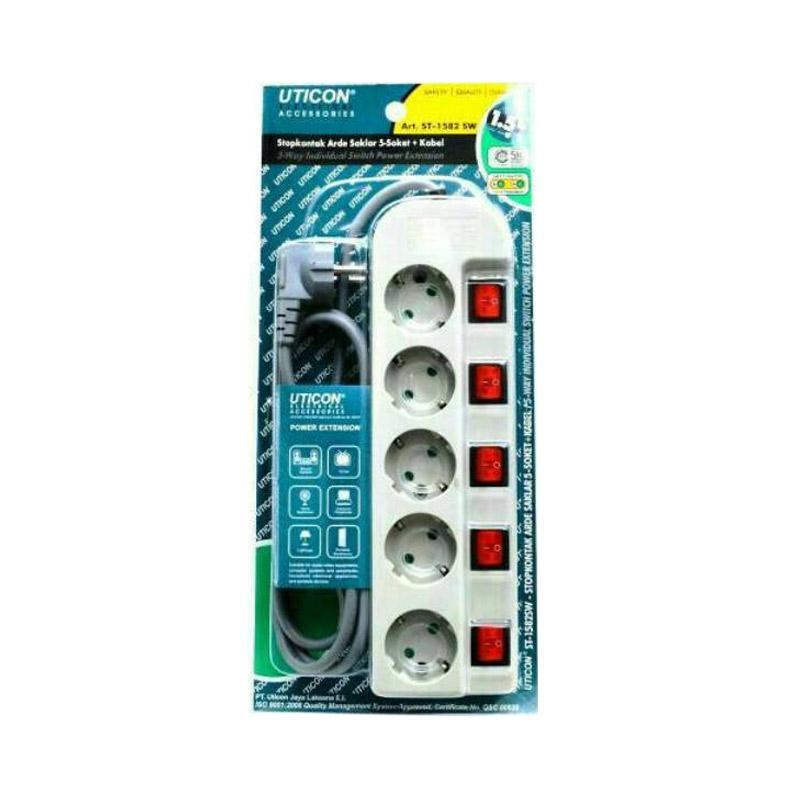 Uticon Stop Kontak [5 Lobang Switch]
