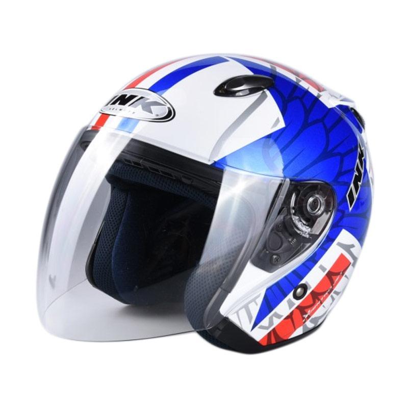 harga INK #10 CENTRO JET Helm Half Face - White Red Blue Blibli.com