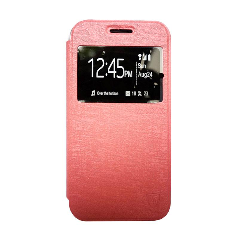 Zagbox Flip Cover Casing for Infinix Hot 3 - Pink