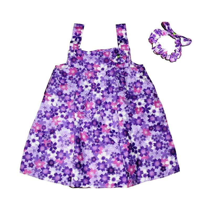 Purple Chara Flower Drees Anak with Headband