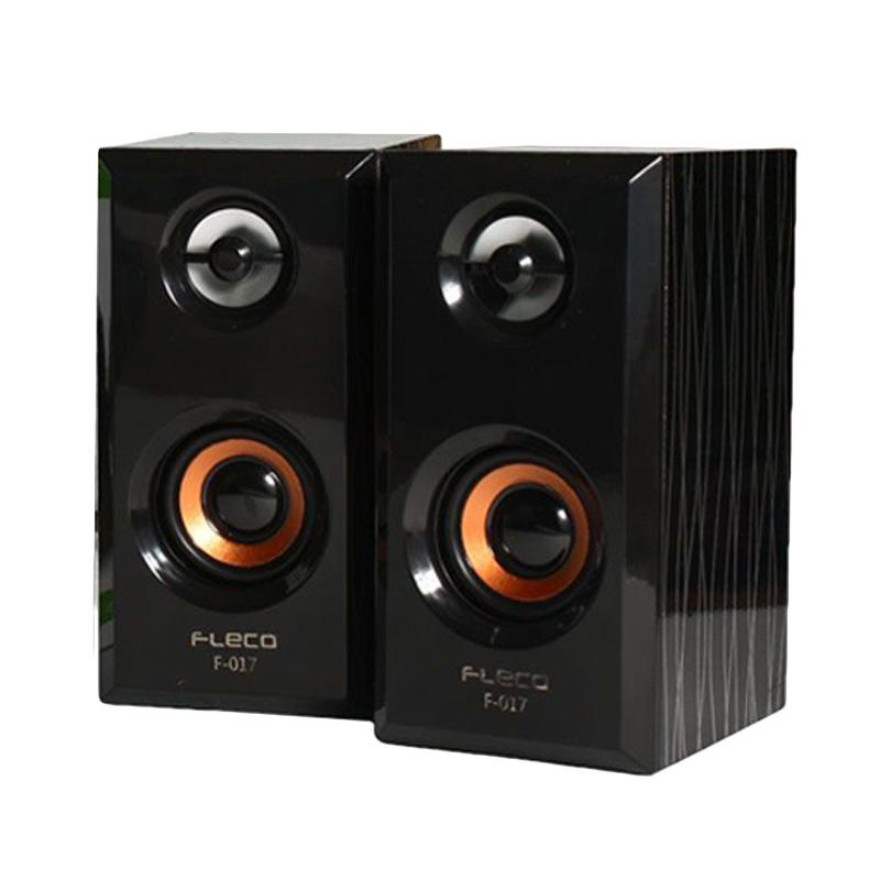 harga Fleco F-017 Wooden USB 2.0 Mini Speaker PC - Black Blibli.com