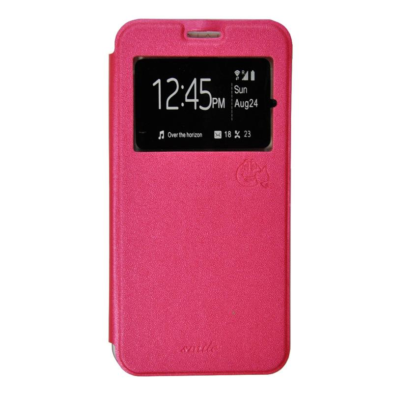 SMILE Flip Cover Casing for VIVO Y15 - Hot Pink