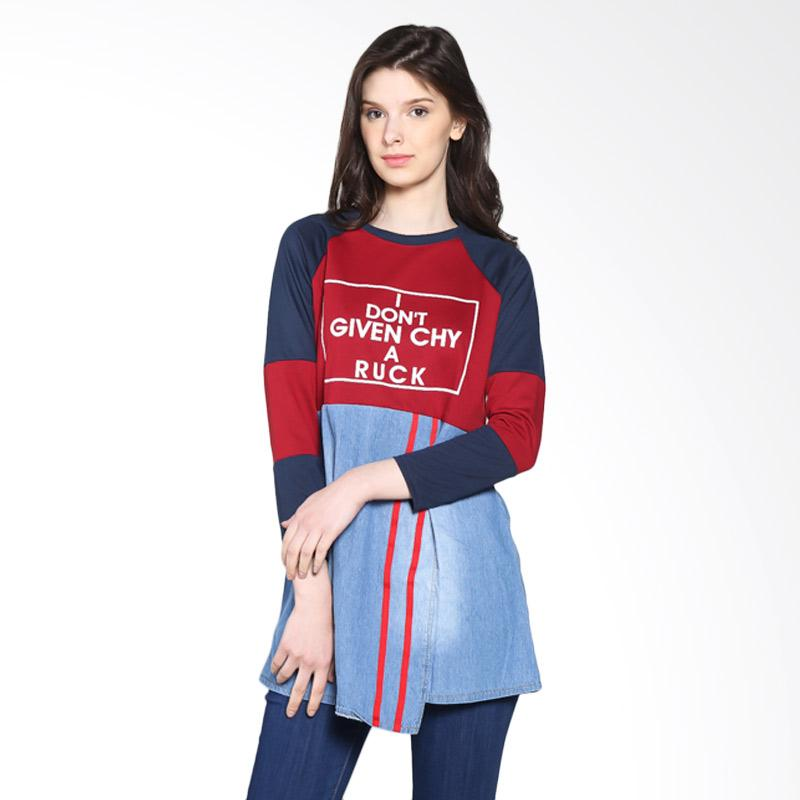 Carte Long Sleeve Faux Skirt Atasan Wanita - Red navy