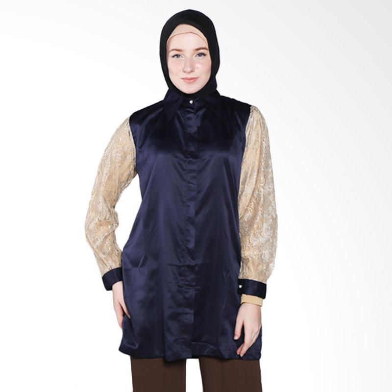 Rauza Rauza Lacey Shirt Atasan Wanita - Navy