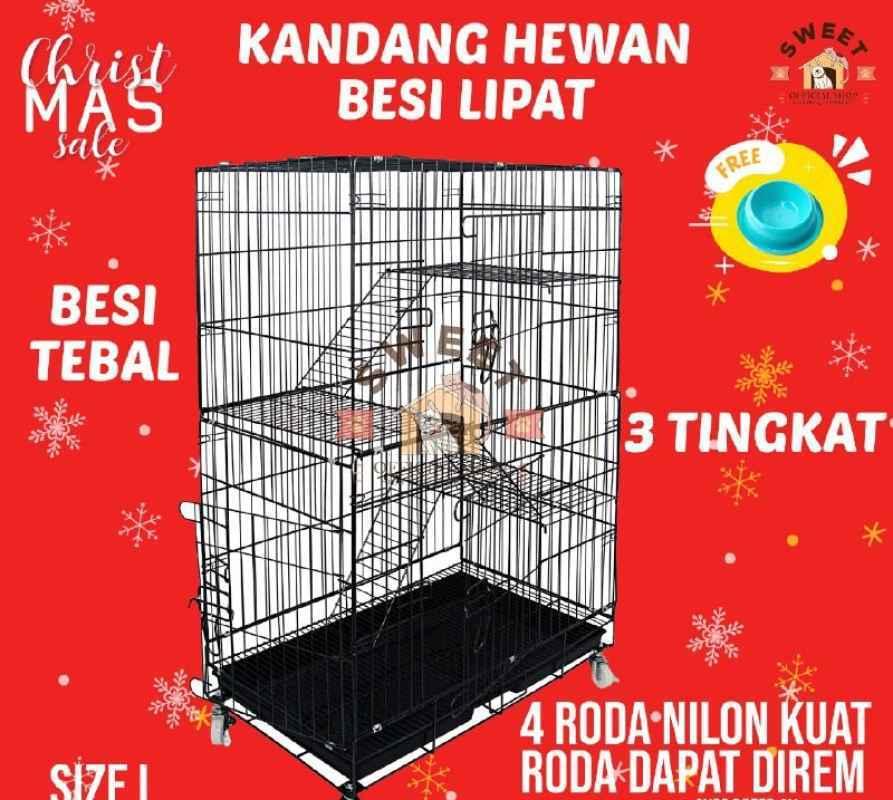 Kandang Kucing 3 tingkat Besi Tebal Lipat Size L 95x60x47 Kucing Anjing Kelinci
