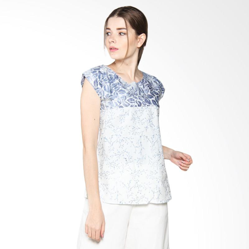Debra Lunn BLTL Cap Square Silver Baby Breath Flower and Charchoal Tropical Vine DLWBL0190 Blouse Wanita - Charcoal