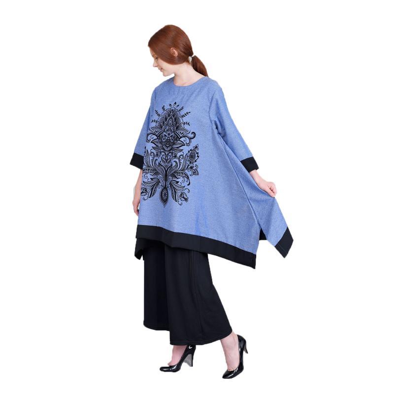 Jual Jfashion New Wide Long Tunik Print Beludru Atasan Muslim - Arimbi Biru Online - Harga