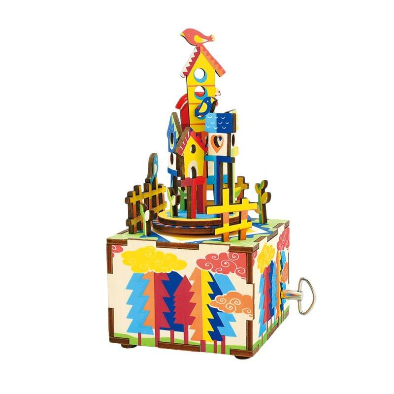 ROBOTIME AM307 DIY Wooden Music Box Series Castle in The Sky Puzzle - Multicolor