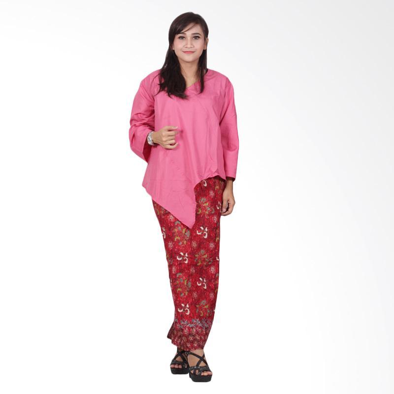 Batik Putri Ayu Solo D89 Dress Batik Katun - Pink