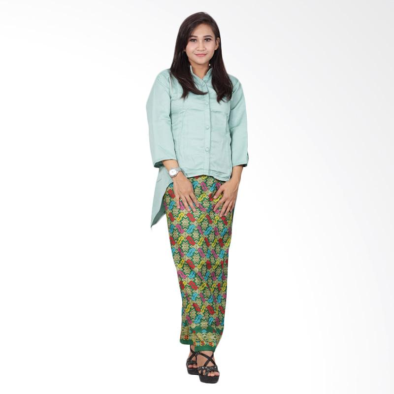 Batik Putri Ayu Solo D92 Dress Semi Sutra Batik - Hijau