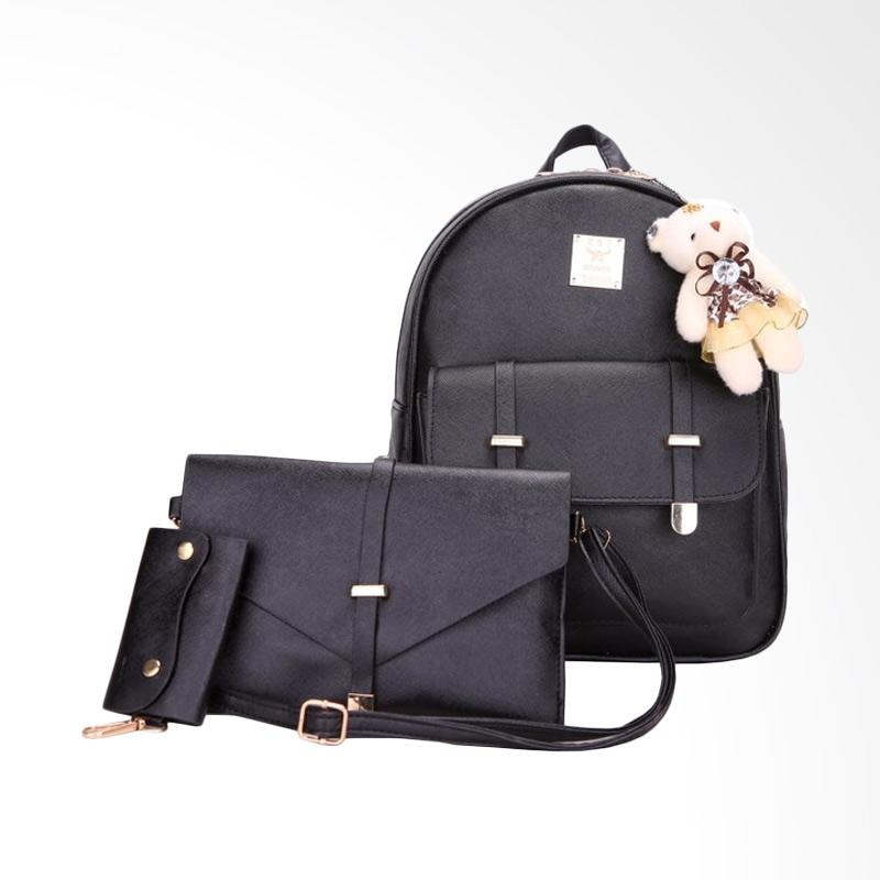 Fashion 888 63384 Boneka Backpack Tas Wanita - Black
