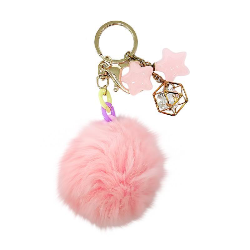 SIV BB07 Bulu Kombinasi Bintang Key Chain Gantungan Kunci - Pink