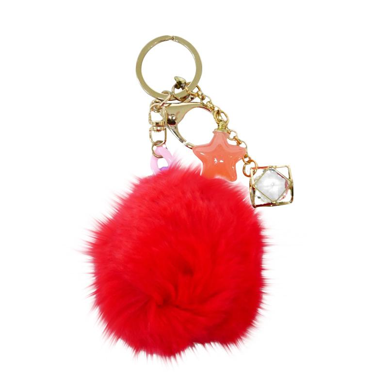 SIV BB08 Bulu Kombinasi Bintang Key Chain Gantungan Kunci - Red
