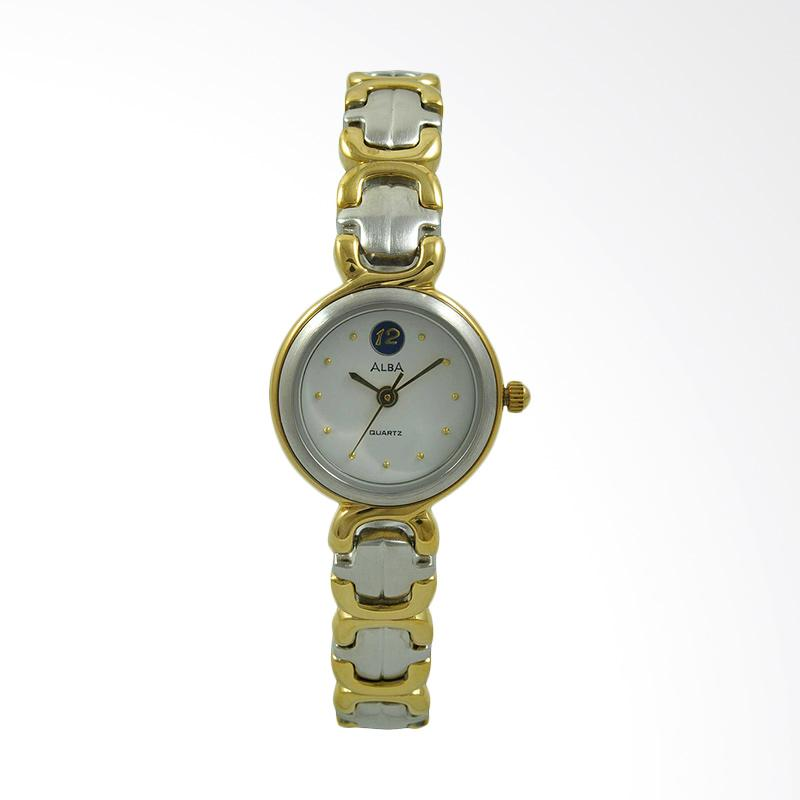 ALBA Jam Tangan Wanita - Silver Gold White - Stainless Steel - ATQL58