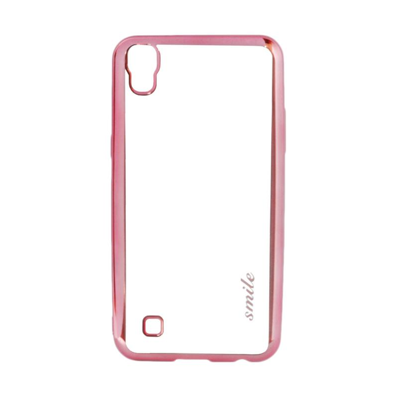 SMILE Ultra Thin Shining List Chrome Softcase Casing for LG X Power - Rose Gold
