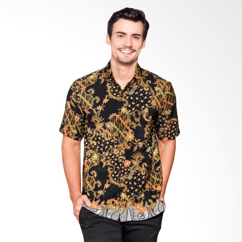 Batik Heritage Royal Peach Flower Tail Slim Fit Kemeja Batik Pria - Hitam