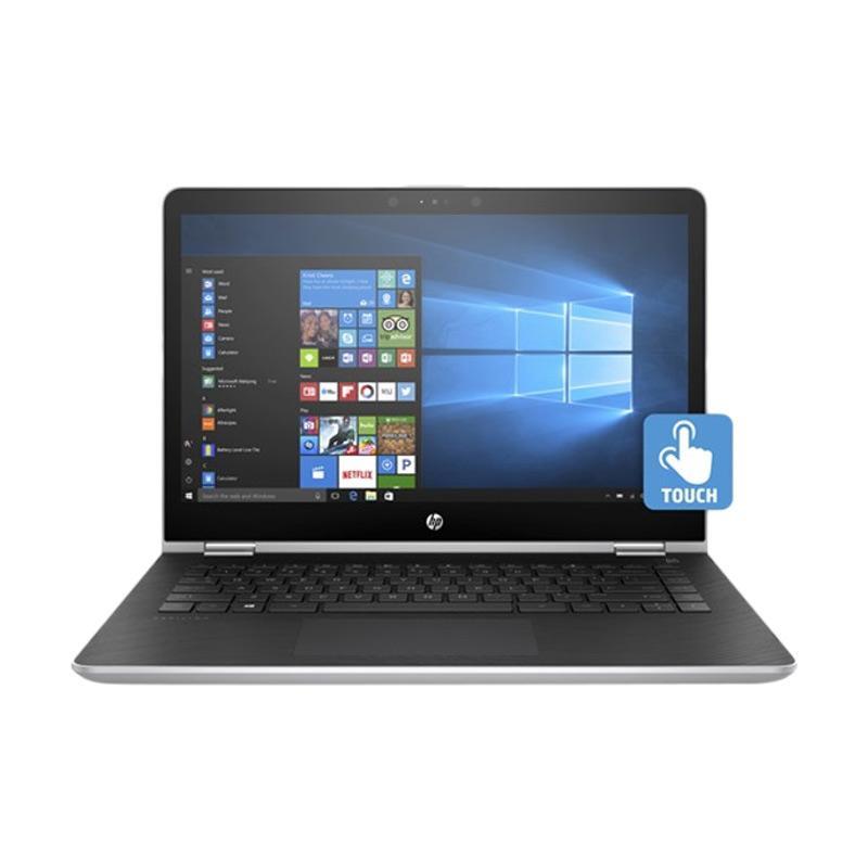 """HP Pavilion X360 14-BA005TX Notebook - Silver [Intel Core i7-7500U/8GB RAM/1TB HDD+128GB SSD/14""""/Win10]"""