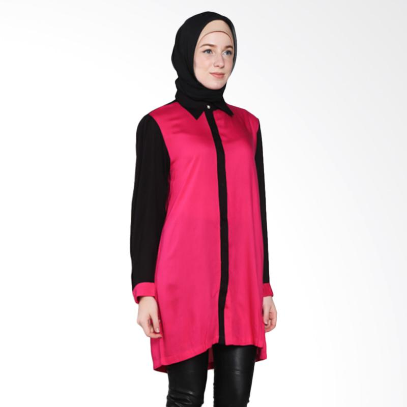 Rauza Rauza Twotone Shirt Atasan Muslim - Pink Hitam