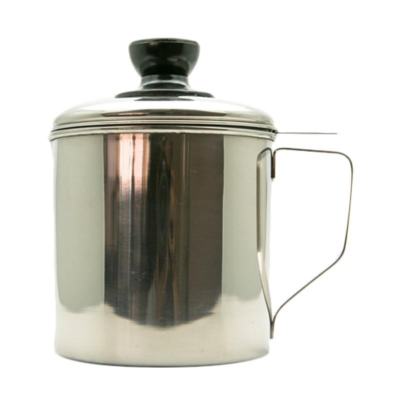 HAN OP Oil Pot Stainless Tempat Penyimpanan Minyak Tebal - Perak [12 cm/ 750 mL]