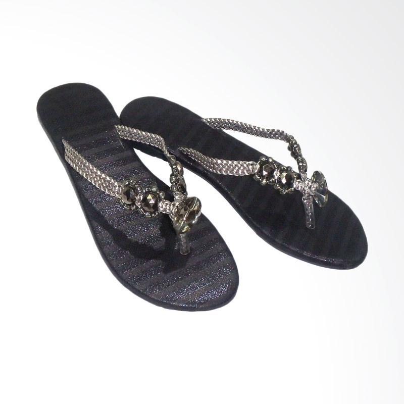Aerilyn Teresa Sandal Flat Jepit Wanita - Black
