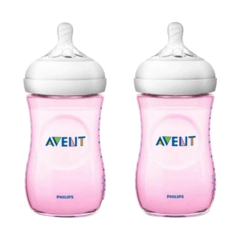 Avent New Design Botol Susu Natural Bottle - Pink [260 mL/2 pcs]