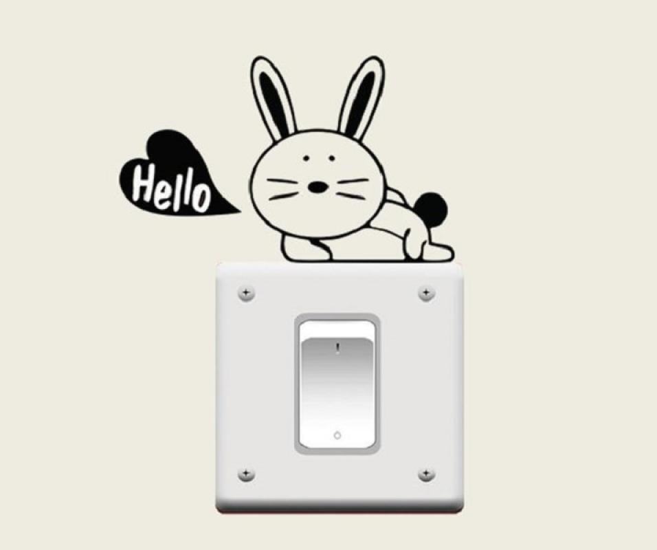 OEM Kelinci Hello Laptop Tombol Lampu Cutting Sticker