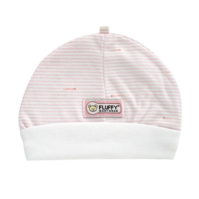 Fluffy Rib Bear Salur Topi Bayi - Pink