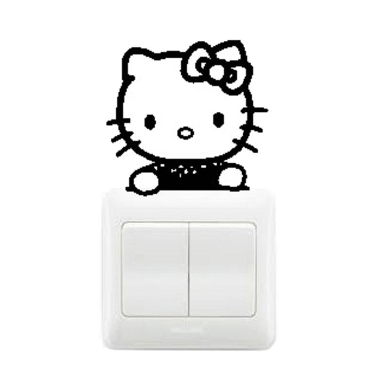 OEM Motif Hello Kitty Cute Decal Dekorasi Tombol Lampu Saklar Wall Sticker - Hitam