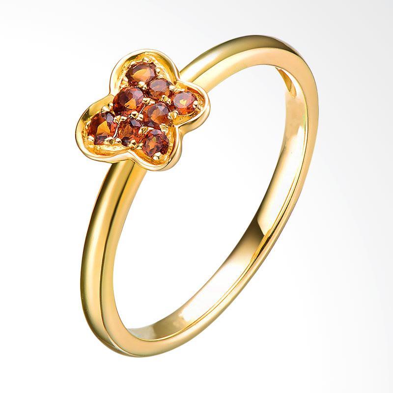 Tiaria 9K Butterfly Citrine Ring Perhiasan Emas Cincin