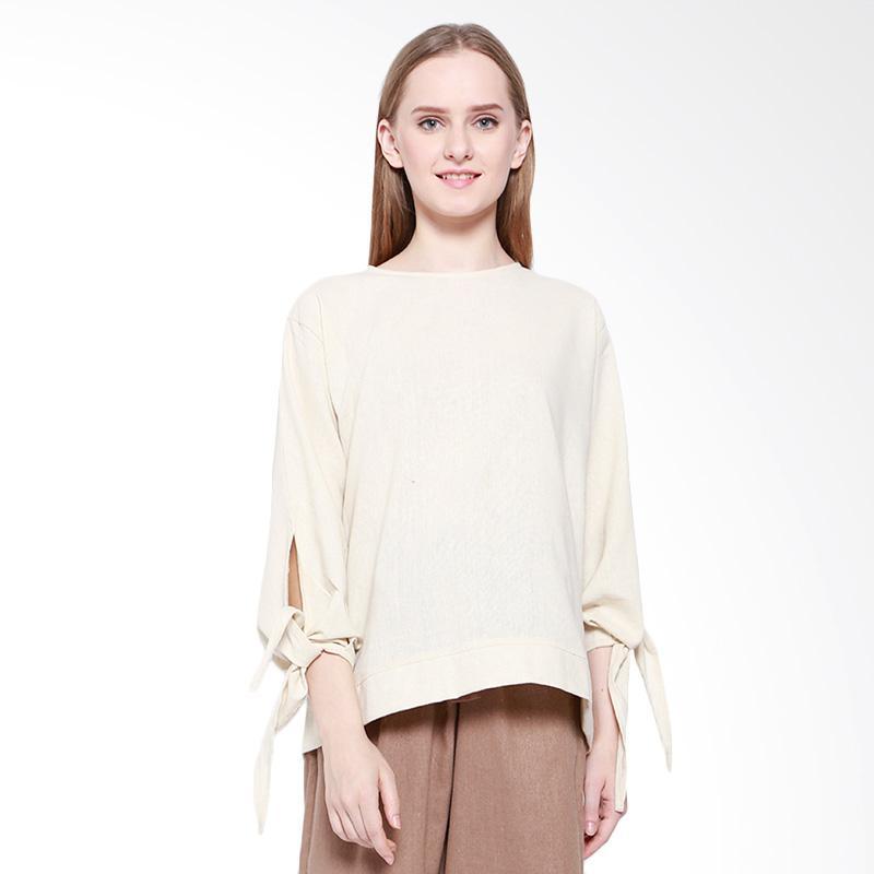 Dealarosa Linen Tunieq Casual Atasan Wanita - White Bone Colour