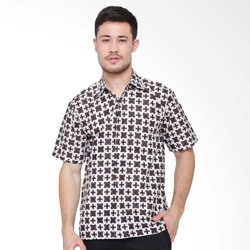 Jening Batik Short Sleeve Kemeja Pria - White Black RAFA-003