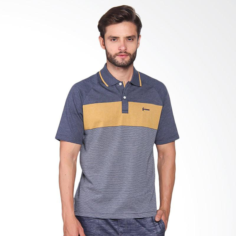 Hammer Men Polo Stripe Pakaian Pria - Mid. Navy / A. Gold I1PS414N1