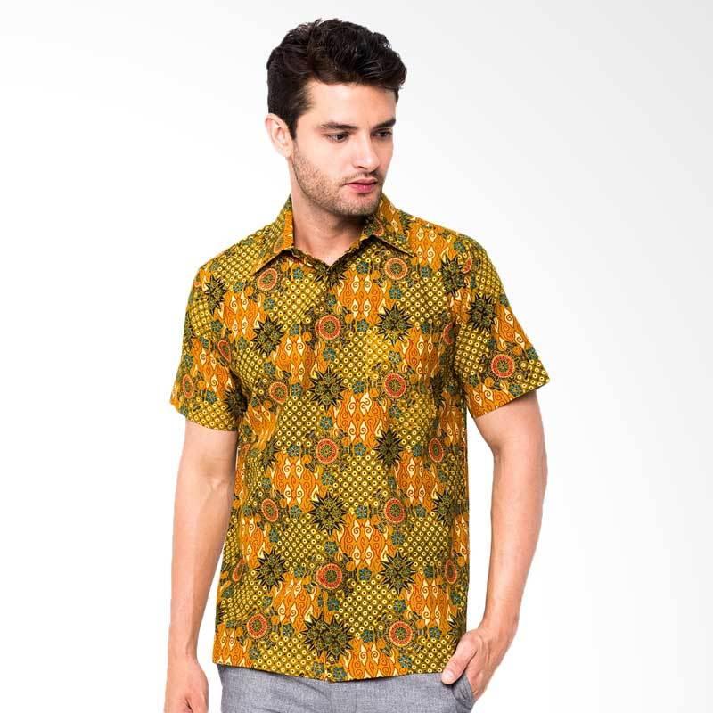 Jening Batik Short Sleeve Batik Atasan Pria - Brown HR-011
