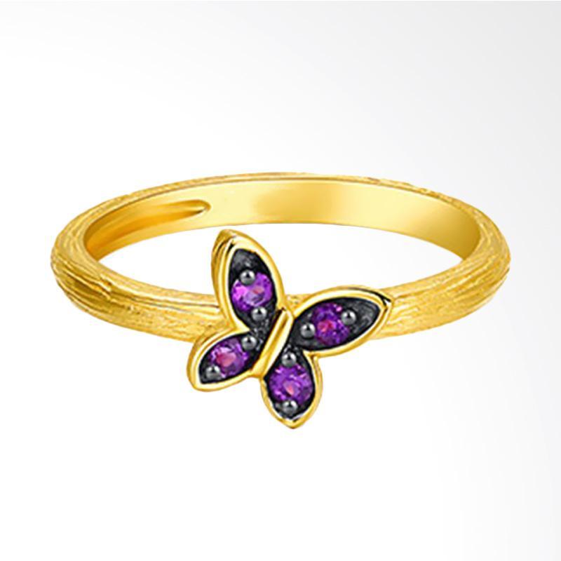 Tiaria Enchanted Fairy Amethyst Perhiasan Emas Cincin [18 K]