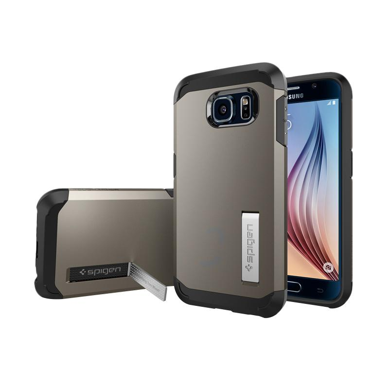 Spigen Tough Armor Case with Kickstand and Air Cushion Techonology Casing for Samsung Galaxy S6 2015 - Gunmetal