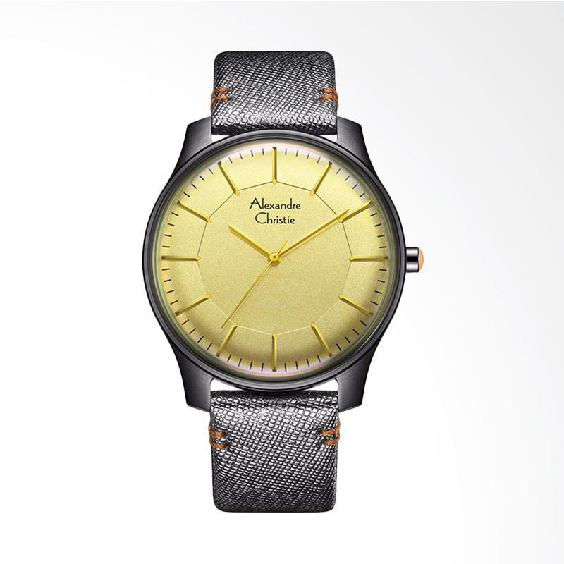 Alexandre Christie ACF-8532-MHLIGSL Signature Leather Strap Jam Tangan Wanita - Silver Yellow
