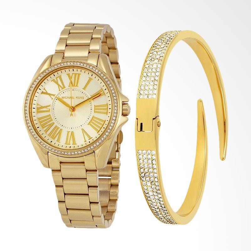 Michael Kors Kacie Gold Sunray MK3568SET Gift Set Jam Tangan Wanita - Gold