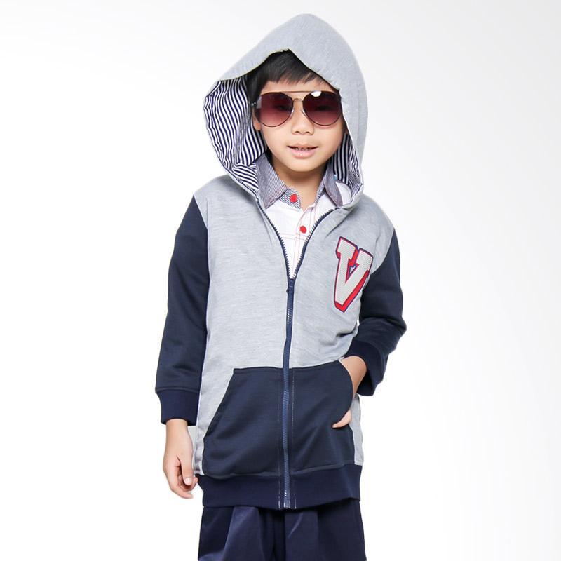 Versail M1035 Sweater Junior Sablon Grey Jaket Anak - Abu Navy