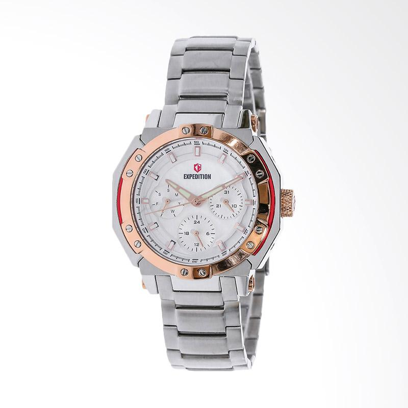 Expedition EXF-6385-BFBTRSL White Dial Stainless Steel Jam Tangan Unisex - White