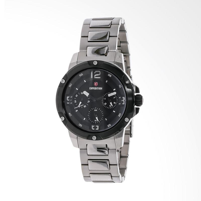 Expedition EXF-6698-BFBTBBA Black Dial Stainless Steel Jam Tangan Unisex - Silver