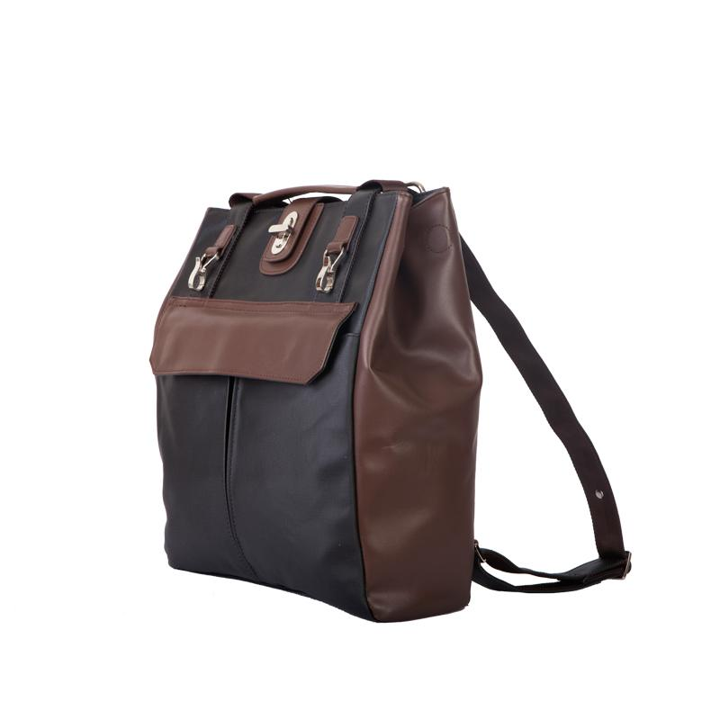 Amore Daniel Stark - 3-Way Business Backpack [14Inch] - Black/Brown