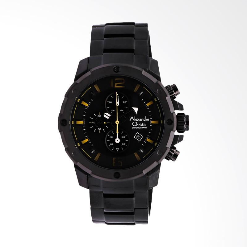 Alexandre Christie Man Sport Black Dial Stainless Steel Jam Tangan Pria - Black ACF-6410-MCBEPBA