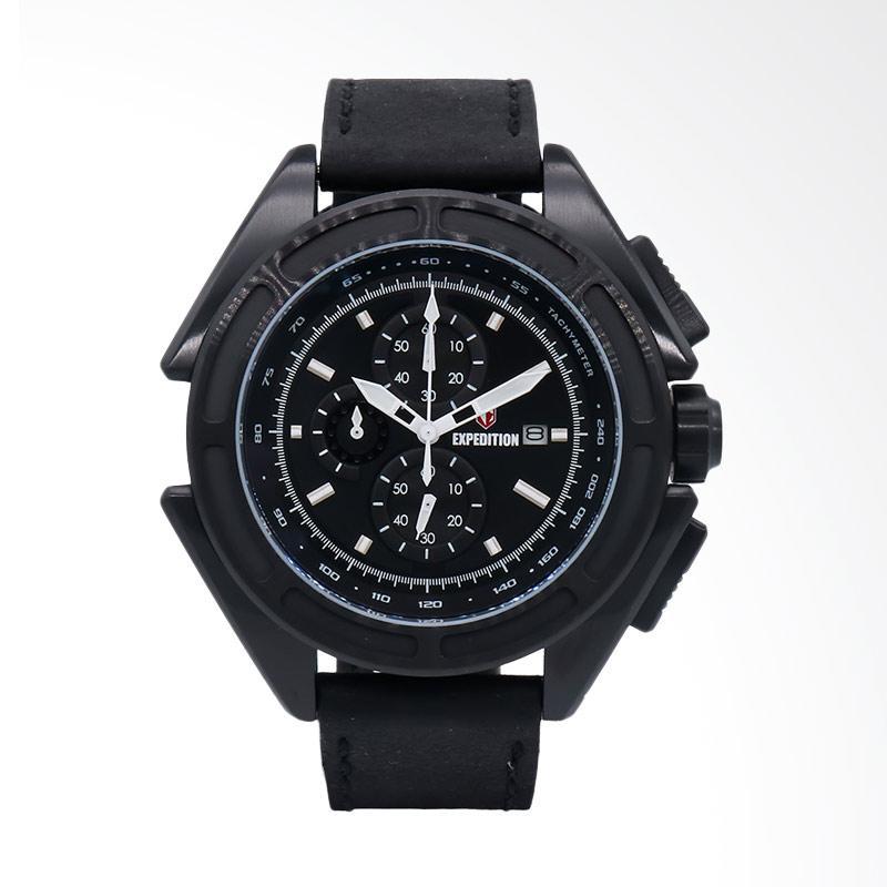 Expedition EXF-6712-MCLIPBA Man Black Dial Black Leather Strap Jam Tangan Pria - Black